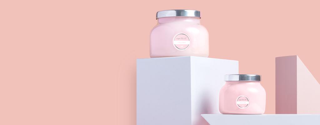 Bubblegum Pink Candles on pedestal