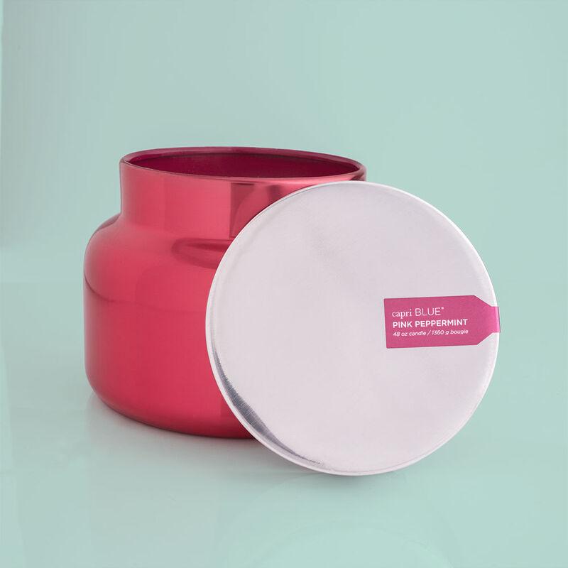 Capri Blue Metallic Pink Peppermint Jumbo Jar, 48 oz - lid off image number 3