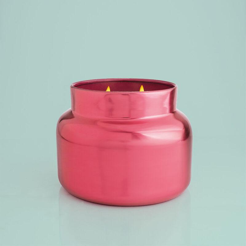 Capri Blue Metallic Pink Peppermint Jumbo Jar, 48 oz - candle burning image number 2