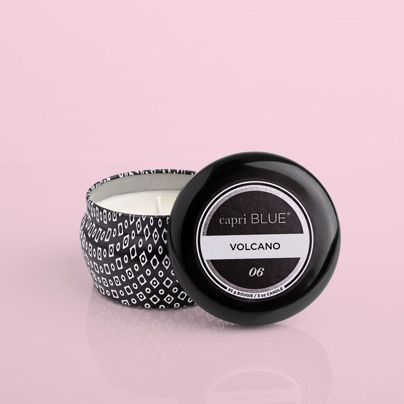 Volcano Black Mini Candle Tin, 3 oz product with lid off image number 3