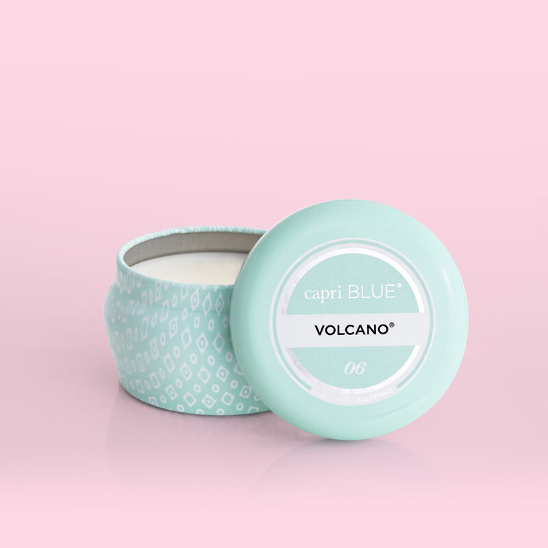 Volcano Aqua Printed Mini Candle Tin product with lid off image number 3