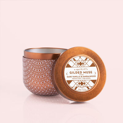 Dark Vanilla & Sandalwood Gilded Candle Tin, 12.5 oz
