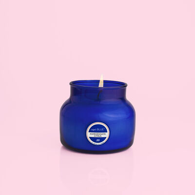 Pomegranate Citrus Blue Petite Candle Burning