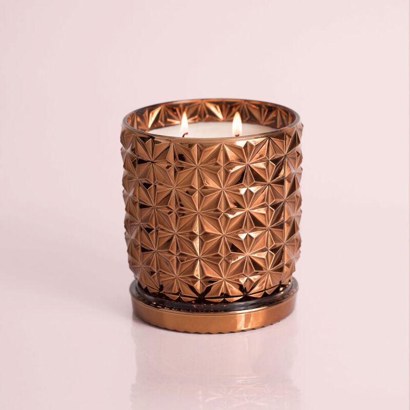 Dark Vanilla & Sandalwood Jumbo Gilded Faceted Jar, 30 oz Candle Burning image number 2