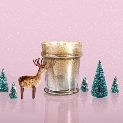 Crystal Pine Glitz Found Glass Candle Surprise