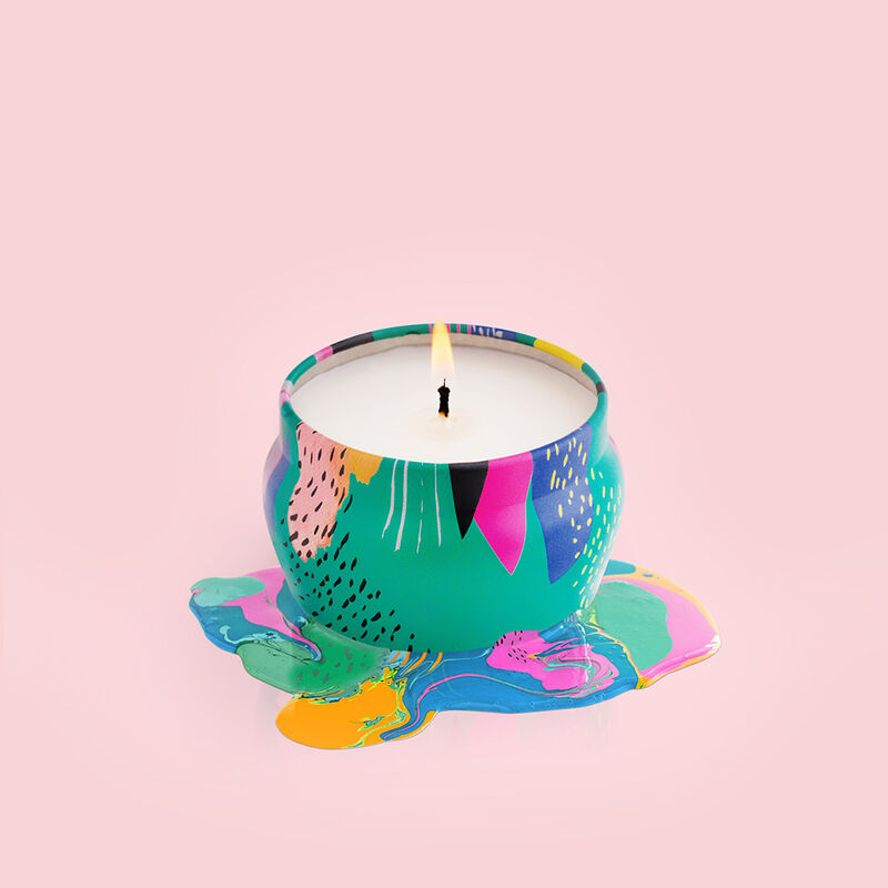 Coconut Santal Gallery Mini Candle Tin, 3 oz product in painterly color melt image number 3