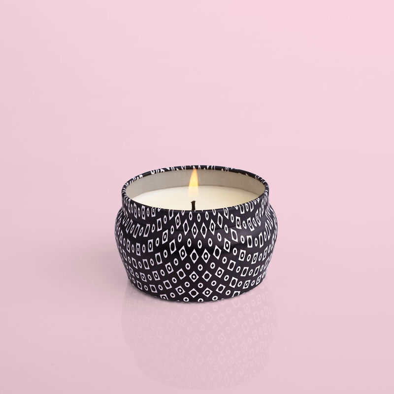 Volcano Black Mini Candle Tin, 3 oz product when lit image number 2