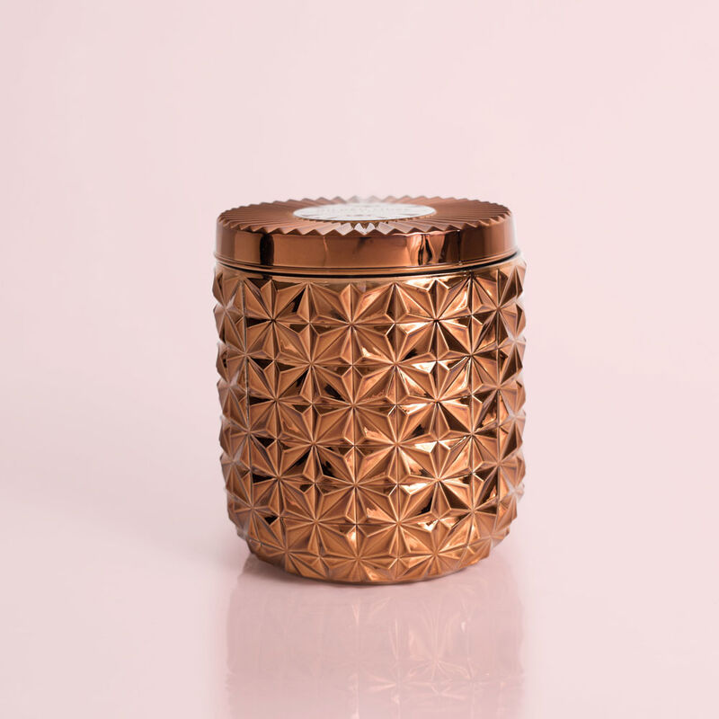 Dark Vanilla & Sandalwood Jumbo Gilded Faceted Candle Jar, 30 oz Candle with Lid image number 0