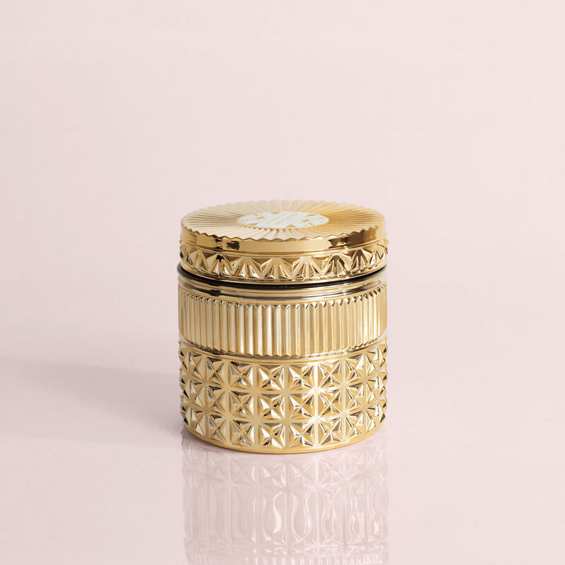Exotic Blossom and Basil Gilded Faceted Candle Jar, 11 oz Candle with Lid image number 0