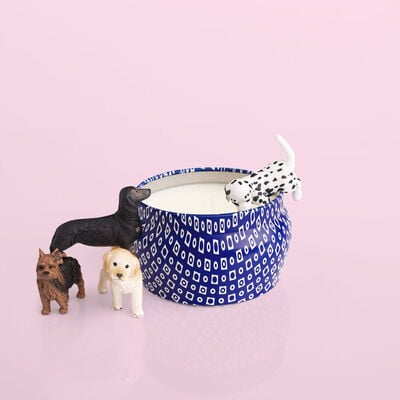 Volcano Blue Mini Candle product with puppies