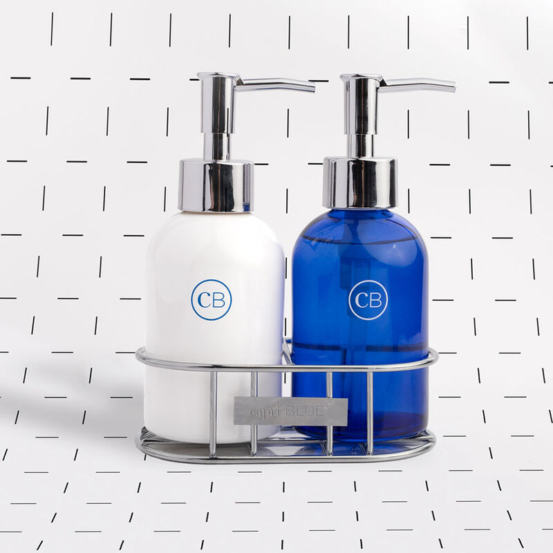 Blue Jean Sink Set Hand Wash and Lotion Duo on White Texture image number 2