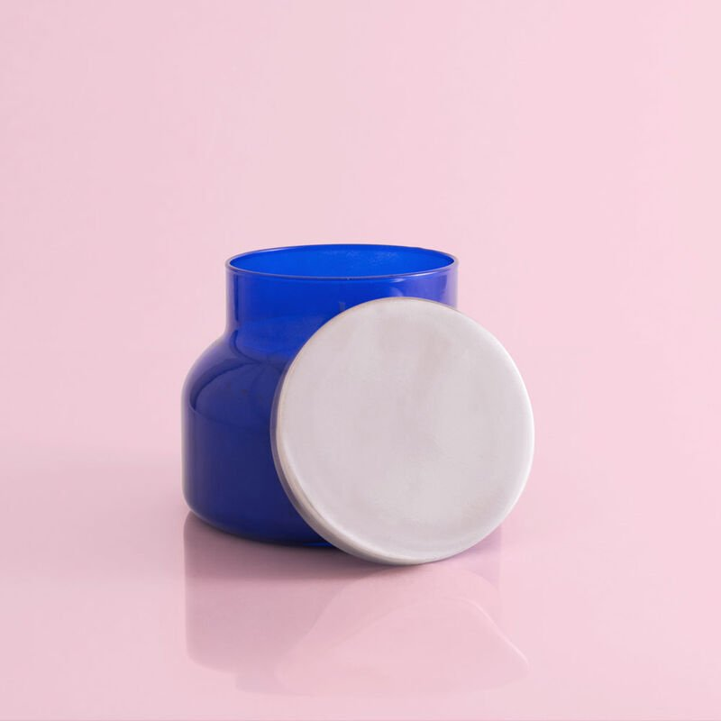 Capri Blue Pomegranate Citrus Blue Signature Jar, 19 oz Candle with Lid in Front image number 3