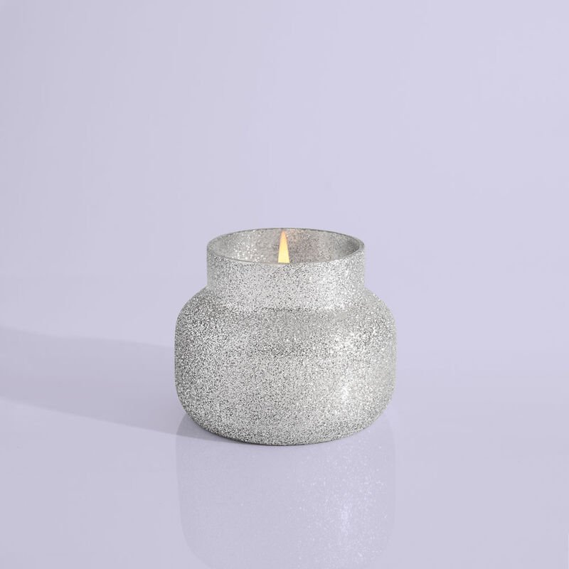 Frosted Fireside Glam Petite Candle Jar, 8 oz Product Lid Off image number 2