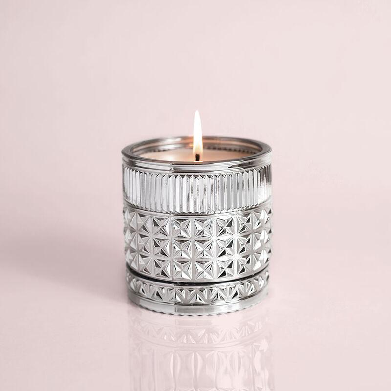 Citrus & Violet Haze Gilded Faceted Candle Jar, 11 oz Candle Burning image number 3