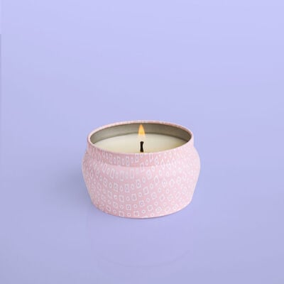 Volcano Bubblegum Mini Candle Tin, 3 oz product when lit