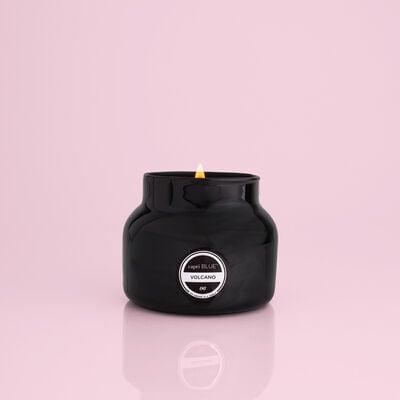 Volcano Black Petite Candle Jar, 8 oz product when lit