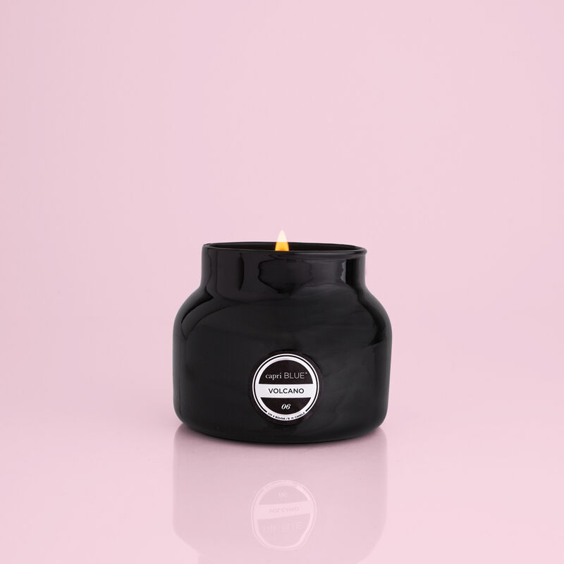 Volcano Black Petite Candle Jar, 8 oz product when lit image number 1