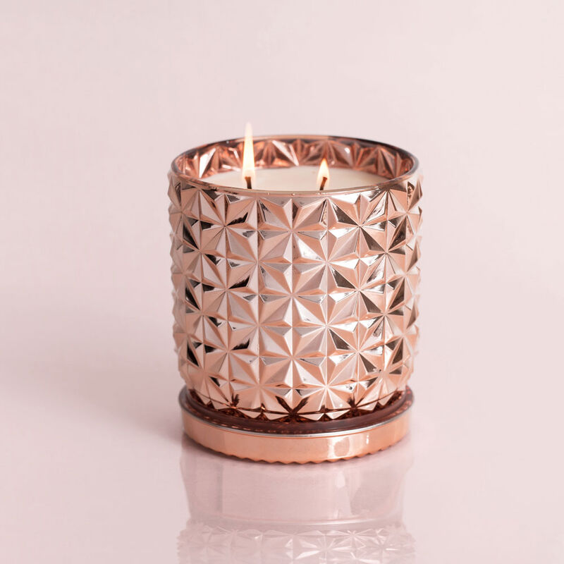 Pink Grapefruit & Prosecco Jumbo Gilded Faceted Candle Jar, 30 oz Candle Burning image number 2
