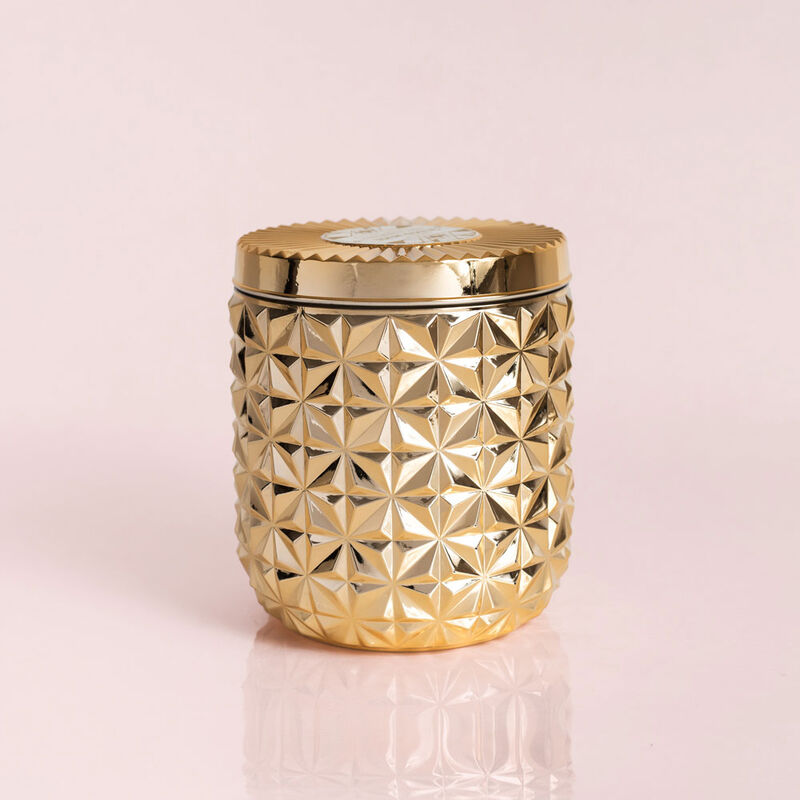 Exotic Blossom & Basil Jumbo Gilded Faceted Candle Jar, 30 oz Candle with Lid image number 0