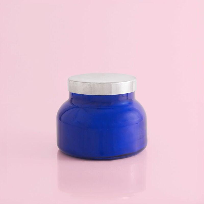 Capri Blue Pomegranate Citrus Blue Signature Jar, 19 oz Back of Candle View image number 2