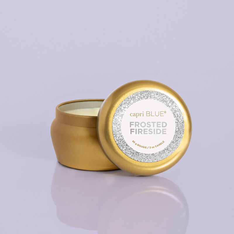 Frosted Fireside Glam Mini Candle Tin product with lid off image number 3