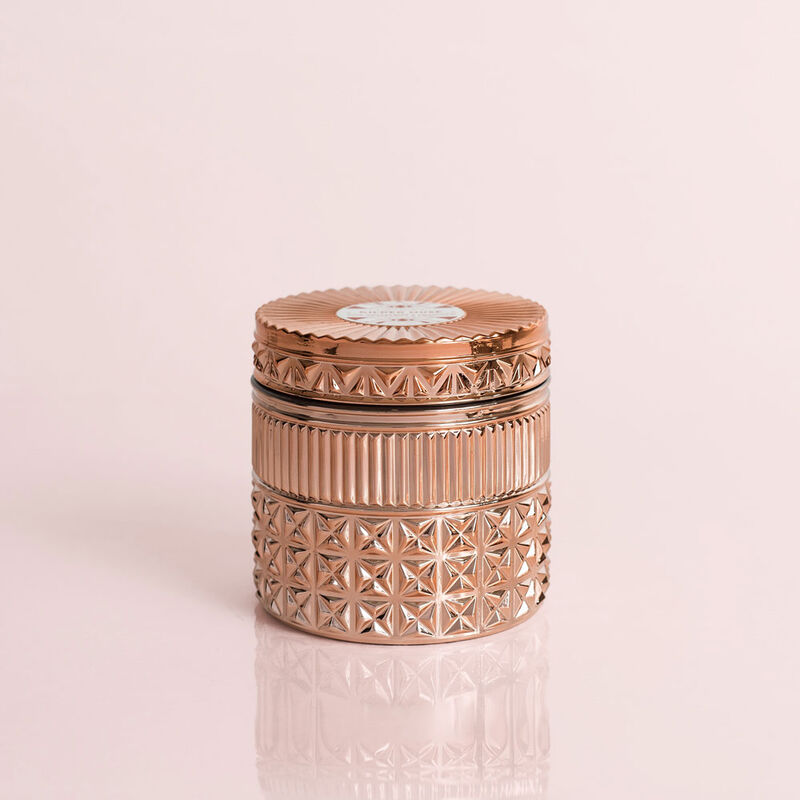 Pink Grapefruit & Prosecco Gilded Faceted Candle Jar, 11 oz Candle with Lid image number 0