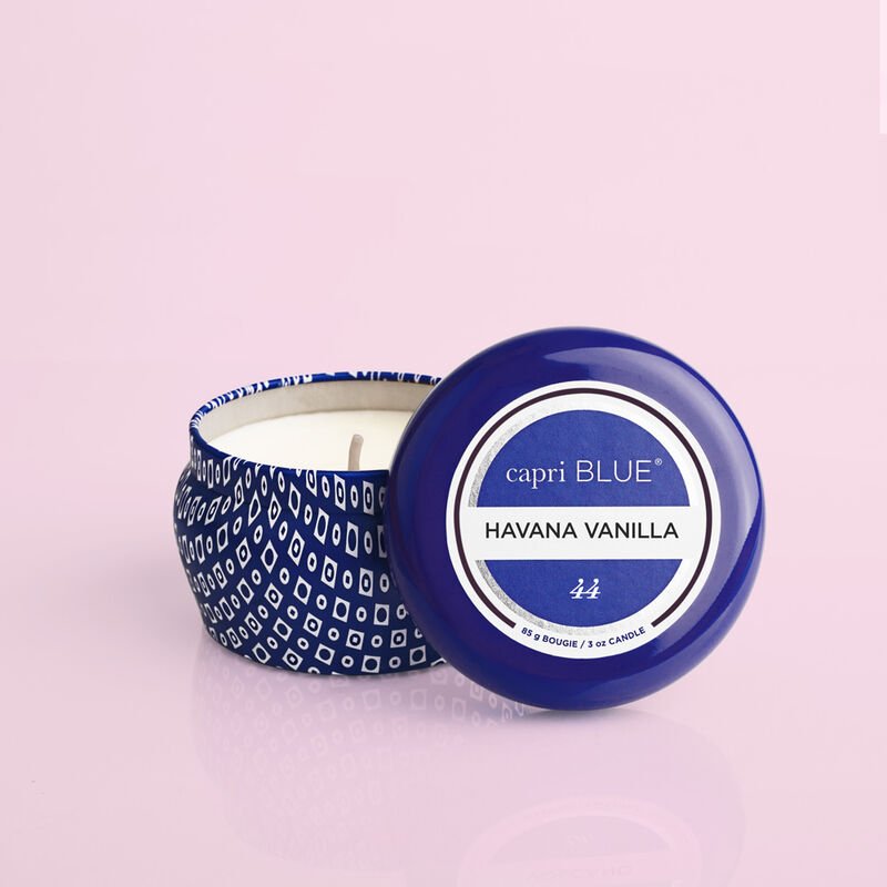 Havana Vanilla Blue Mini Candle, 3oz product with lid off image number 1