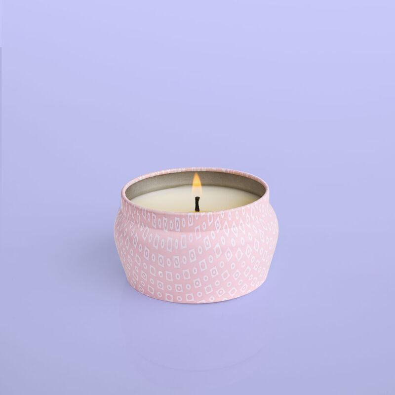 Volcano Bubblegum Mini Candle Tin, 3 oz product when lit image number 1