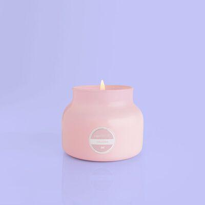 Volcano Bubblegum Petite Candle Jar, 8 oz product when lit