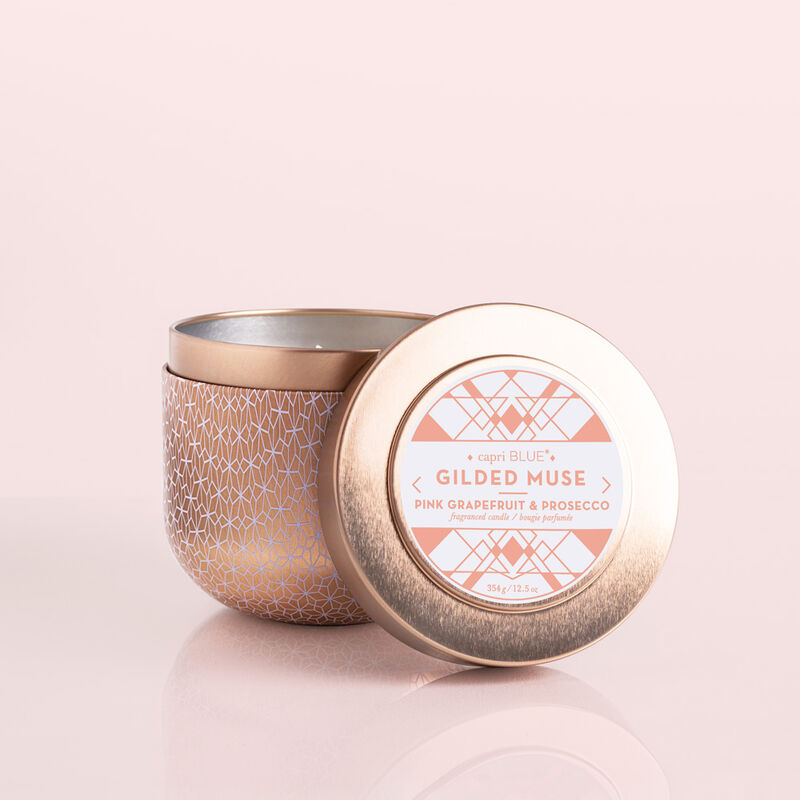 Pink Grapefruit & Prosecco Gilded Candle Tin, 12.5 oz Candle with Lid in Front image number 2
