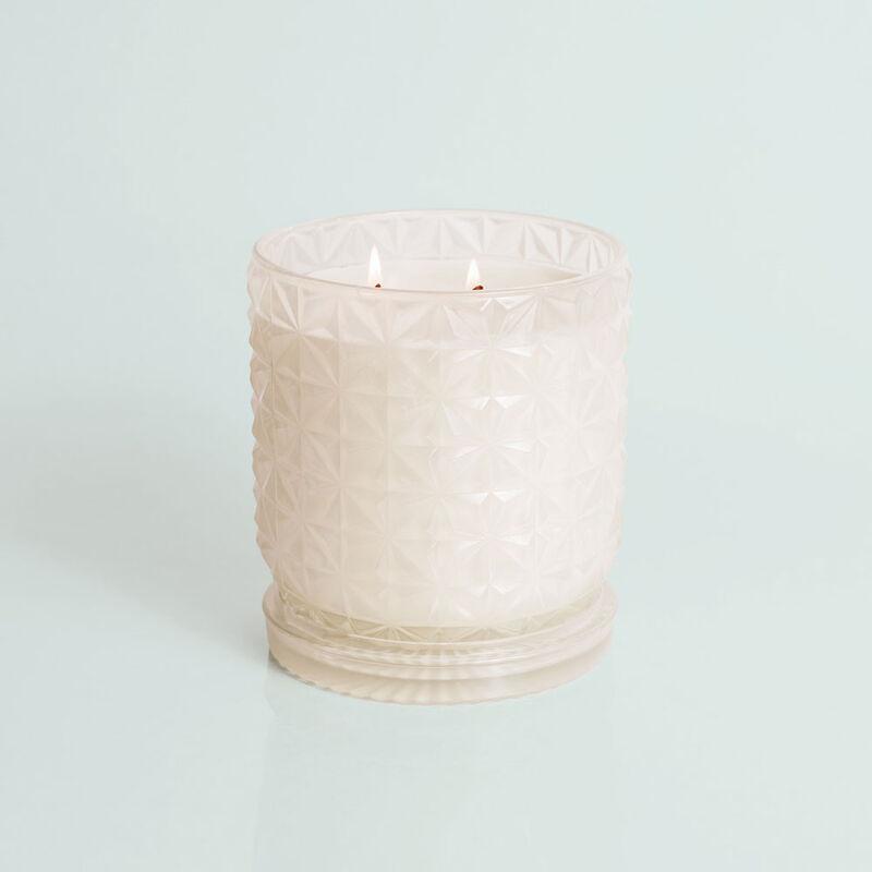 Modern Mint Jumbo Faceted Candle Jar, 30 oz Candle Burning image number 3