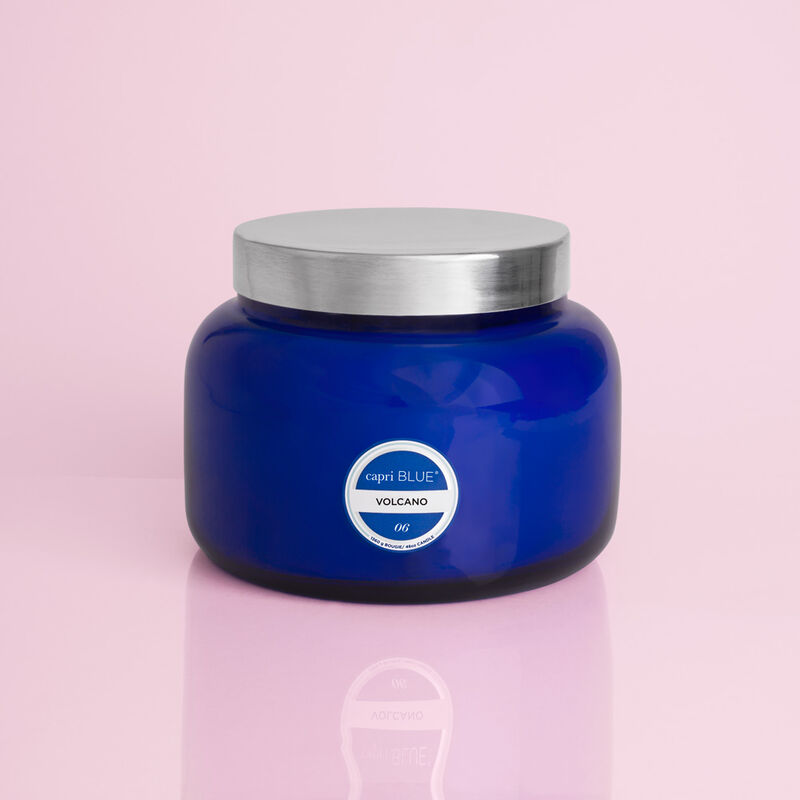 Volcano Capri blue 4 ounce candle glass lid, glass jar