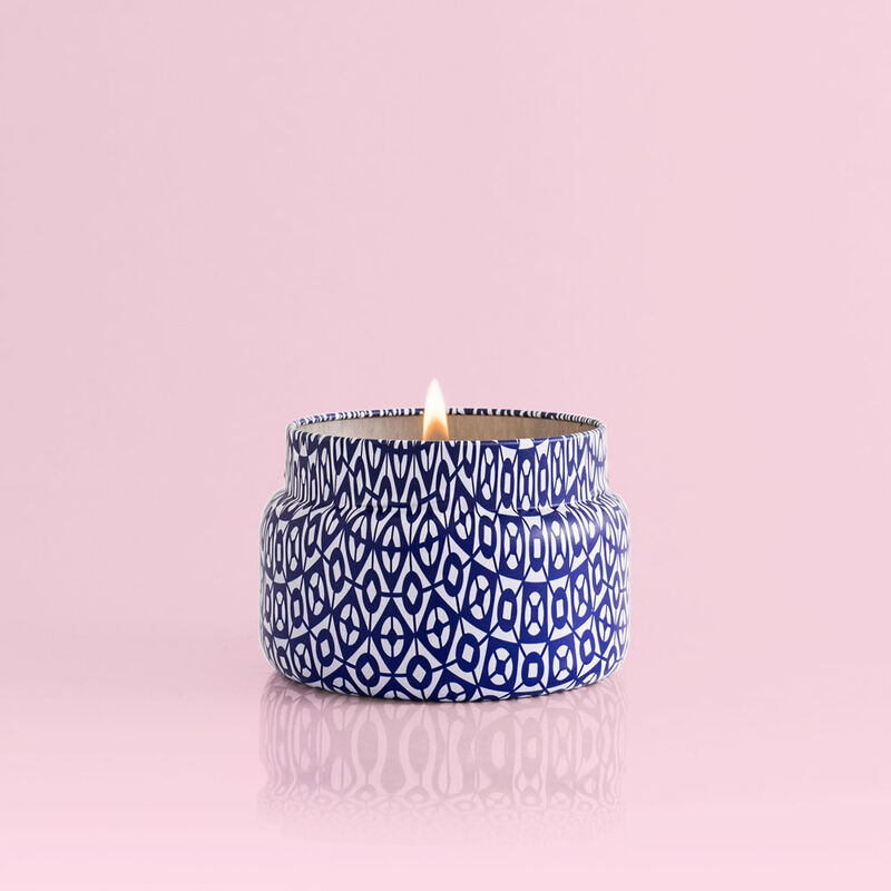 Aloha Orchid Printed Candle Burning, 8.5oz image number 1