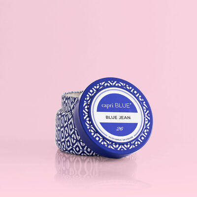 Blue Jean Printed Candle, 8.5oz product with lid off