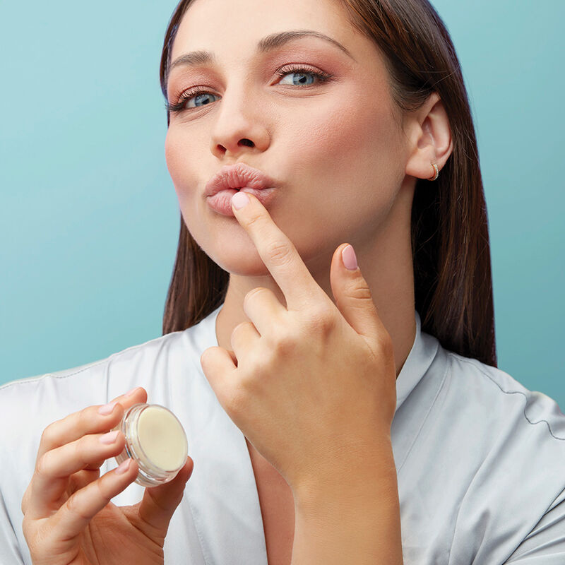 Volcano Lip Balm product in use with model image number 4