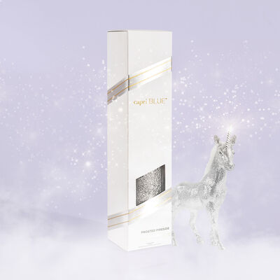 Frosted Fireside Glam Reed Diffuser product with unicorn