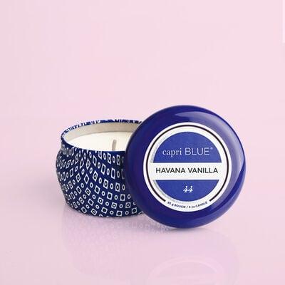 Havana Vanilla Blue Mini Candle, 3oz product with lid off