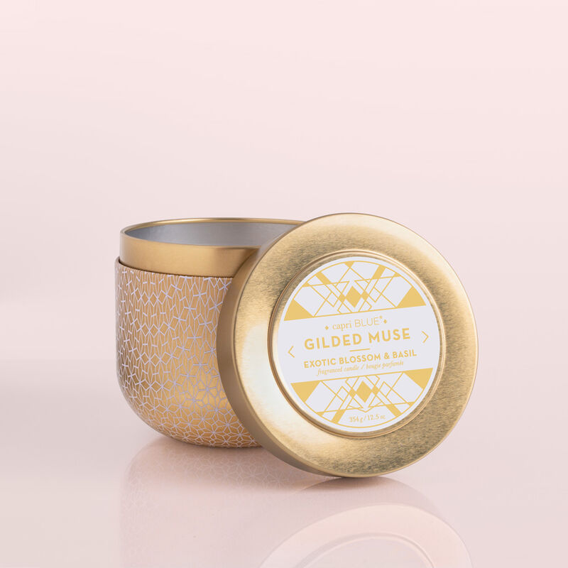 Exotic Blossom & Basil Gilded Candle Tin, 12.5 oz product with lid off image number 2