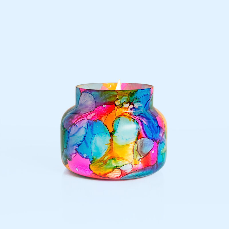 Volcano Rainbow Watercolor Signature Candle Jar, 19 oz Candle without Lid Burning image number 3