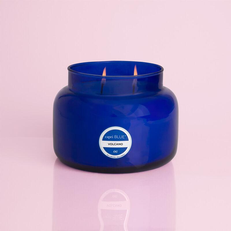 Volcano Blue Jumbo Candle Jar, 48 oz When Burning image number 1