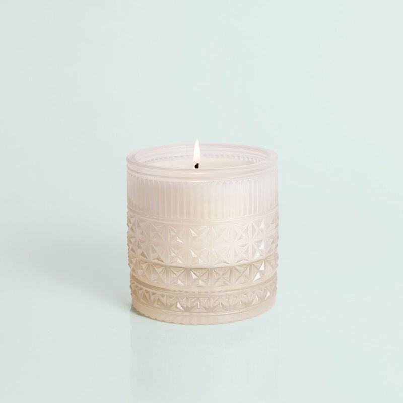Modern Mint Faceted Candle Jar, 11 oz Candle Burning image number 3