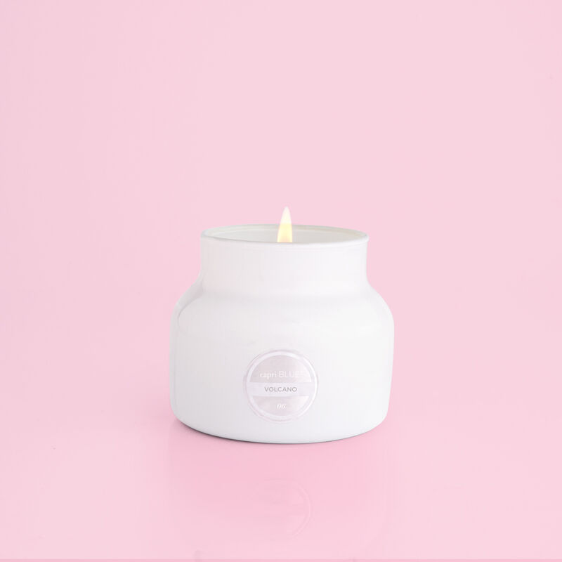 Volcano White Petite Candle Jar, 8 oz product when lit image number 1