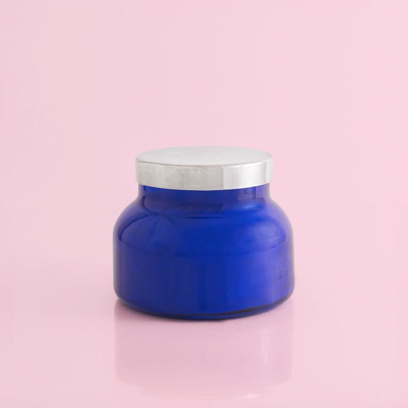Capri Blue Volcano Candle Blue Signature Jar, 19 oz Back of Candle View image number 2