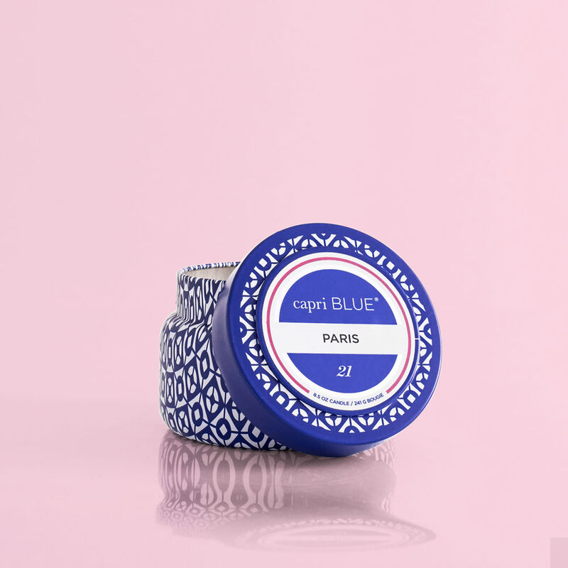 Paris Printed Travel Candle, 8.5oz product with lid off image number 2