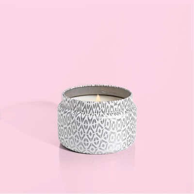 Volcano White Travel Tin Candle with lid off