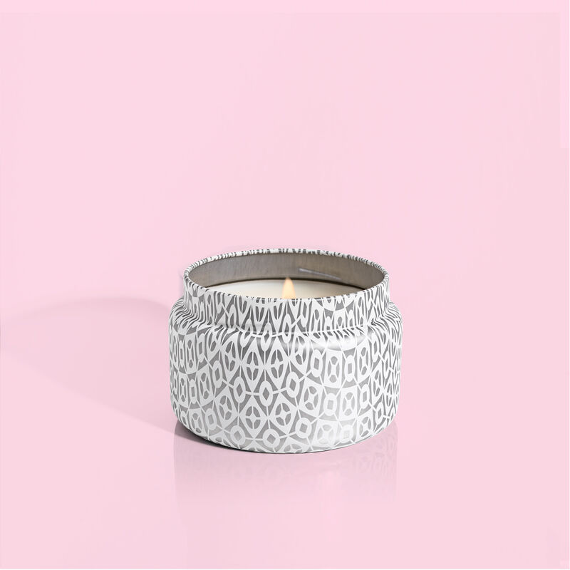 Volcano White Travel Tin Candle with lid off image number 1