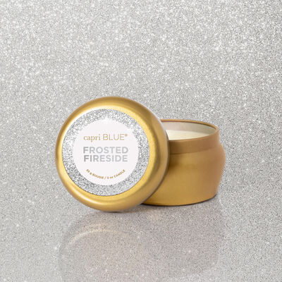Frosted Fireside Glam Mini Candle Tin product with glam background