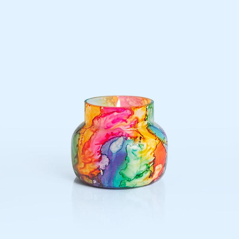 Volcano Rainbow Watercolor Petite Jar, 8 oz product when lit image number 2