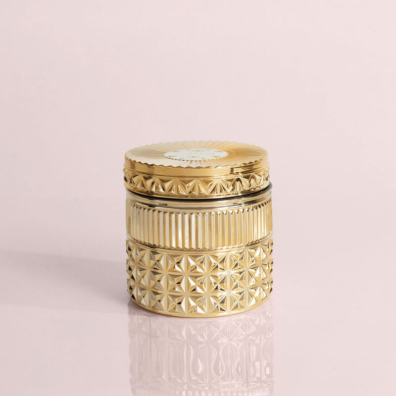 Exotic Blossom and Basil Gilded Faceted Candle Jar, 11 oz Candle with Lid Alt Shot image number 1