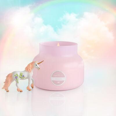 Volcano Bubblegum Signature Candle Jar, 19 oz product view on rainbow background